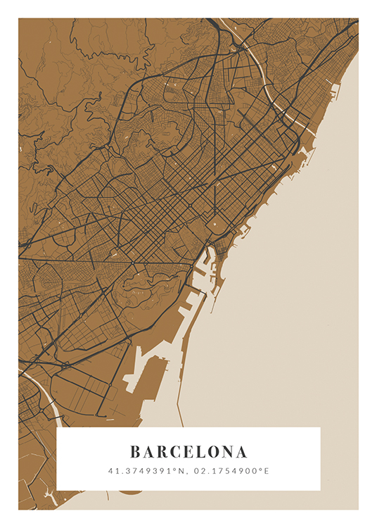 – City map in beige, brown and dark grey with city name and coordinates at the bottom