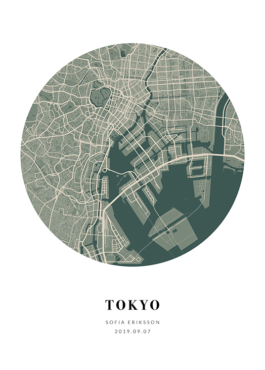 – Round city map in beige and green with text at the bottom