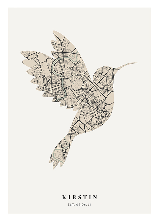 – Bird-shaped city map in beige and black on a light grey background with text underneath