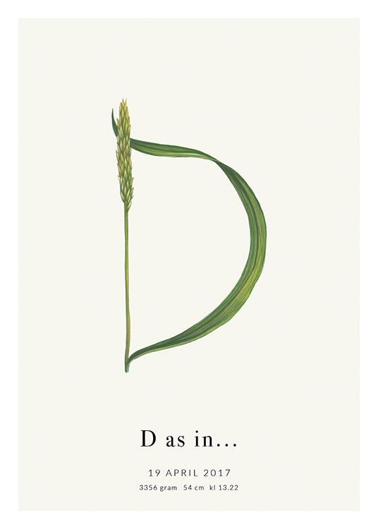 – A green plant forming the letter D, with text at the bottom