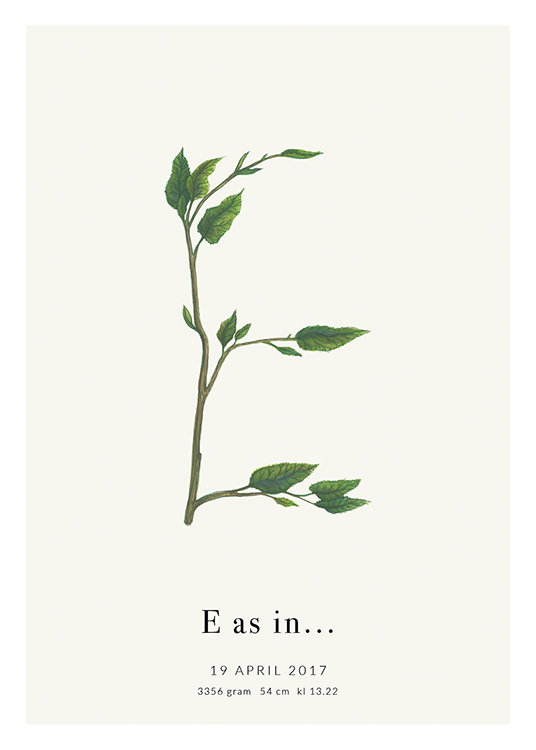 – The letter E formed by green leaves with text at the bottom