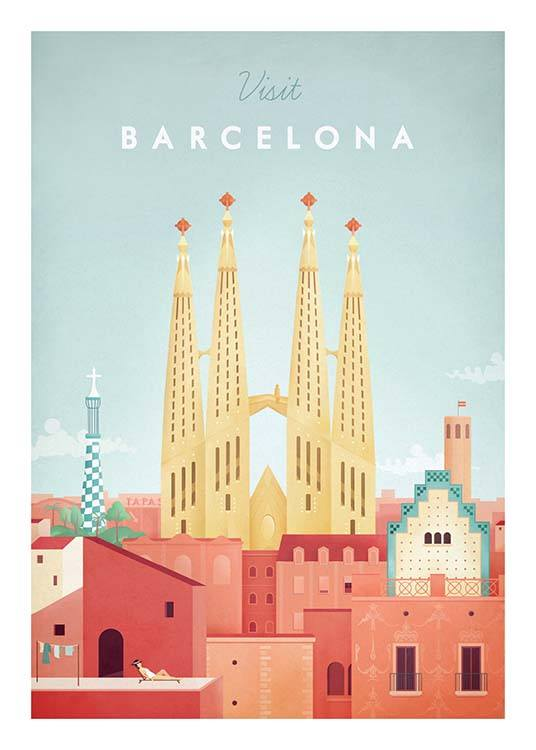 Barcelona Travel Poster / Retro & vintage at Desenio AB (pre0006)
