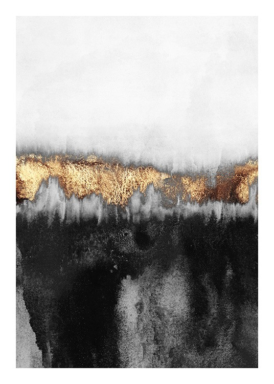- Painting of abstract design in light grey and black with gold coloured details
