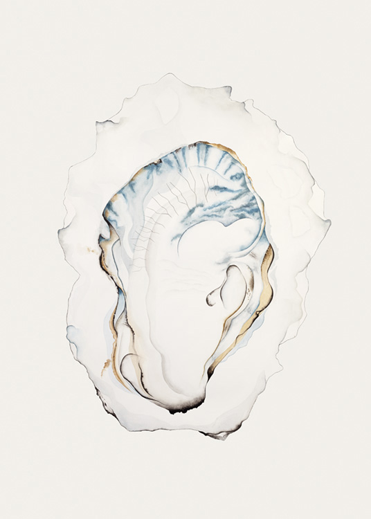 - Watercolour painting of an oyster in grey with blue details in the centre