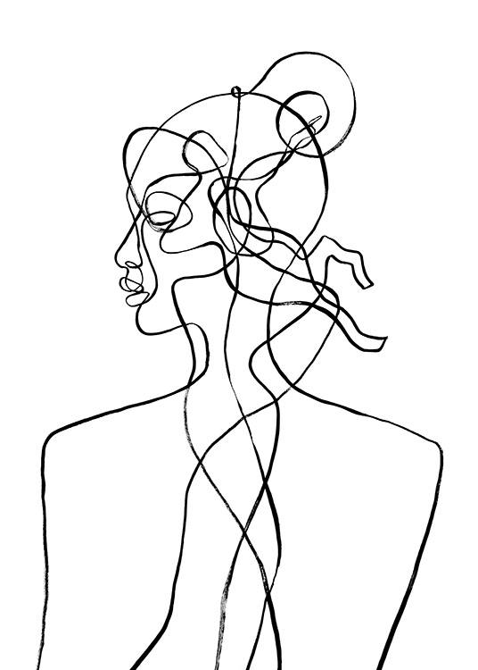 – Illustration of a face and body in line art, inspired by the Sagittarius zodiac sign