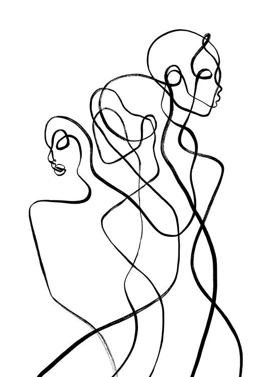 – Illustration with two abstract bodies in black and white, inspired by the Gemini zodiac sign