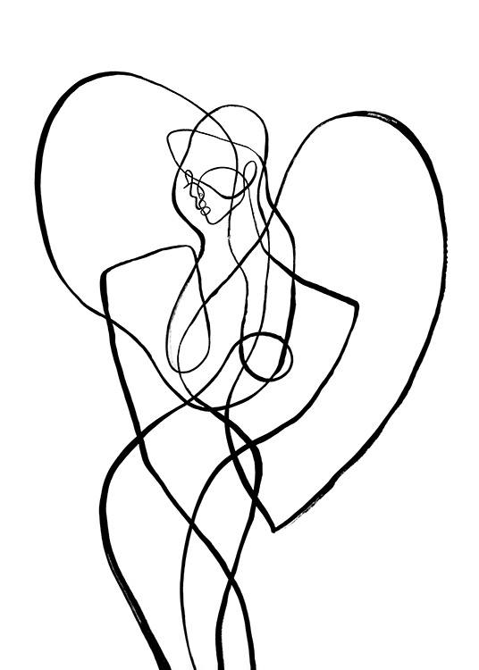 – Abstract line art illustration of a body surrounded by a heart, inspired by the sign of Virgo