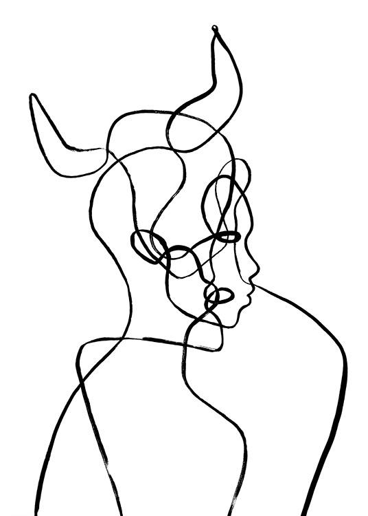 – Illustration with a head with horns in line art, inspired by the Taurus zodiac sign