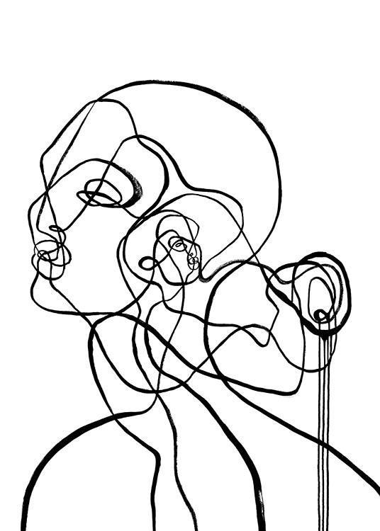 – Abstract line art illustration with two faces and a small waterfall, inspired by the sign of Aquarius