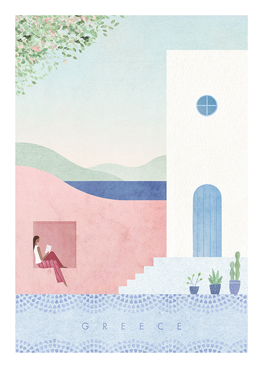 – Illustration of houses in pink, blue and white and a woman reading a book