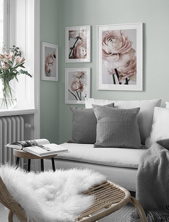 Beautiful gallery wall with pale pink floral design