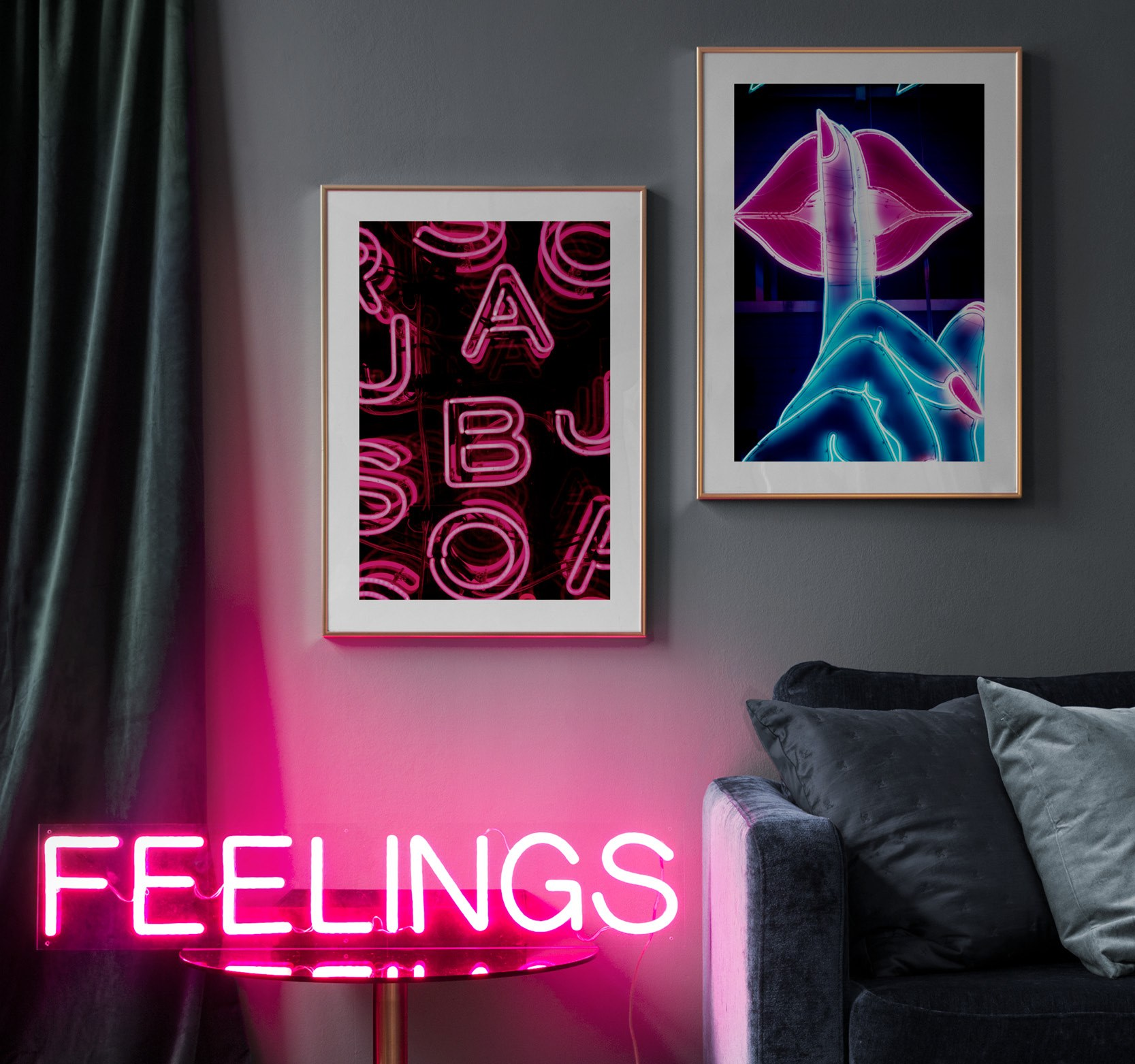 Trendy pair of prints with photo of neon signs