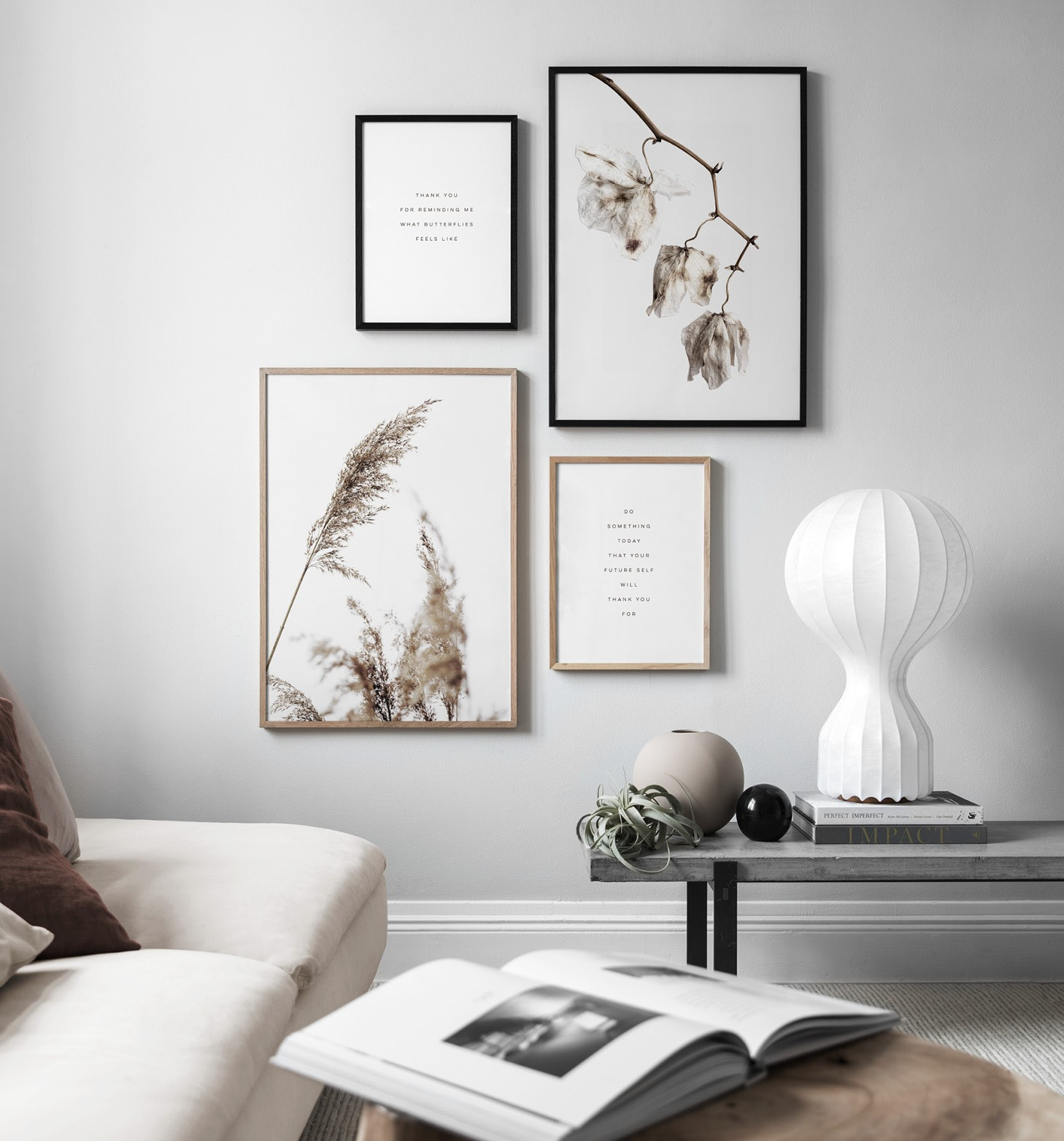 Calm natural décor, posters in earthy colours