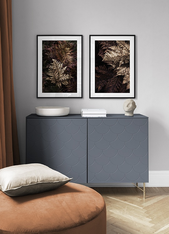 Autumnal poster pairs with golden leaves, perfect décor for the living room in autumn