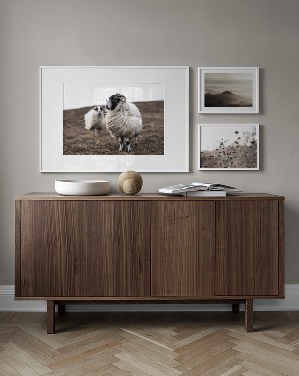 Nature-inspired décor, gallery wall with landscapes and animals