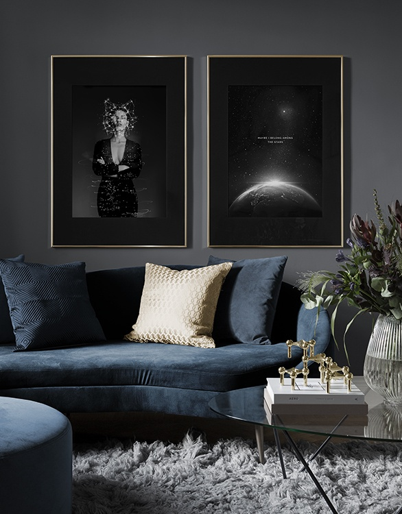 Trendy dark posters with space theme for living room