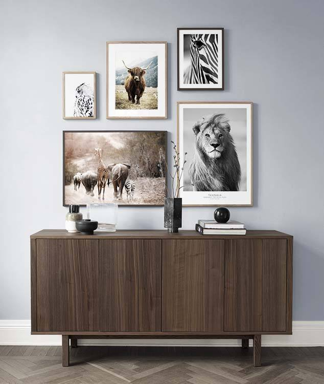 Gallery wall with animal designs