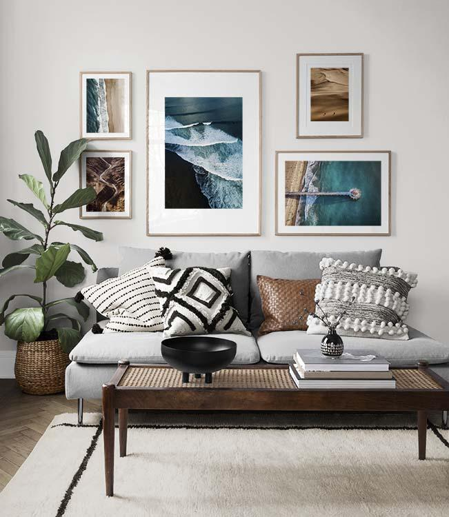 Gallery wall living room inspiration from the sea