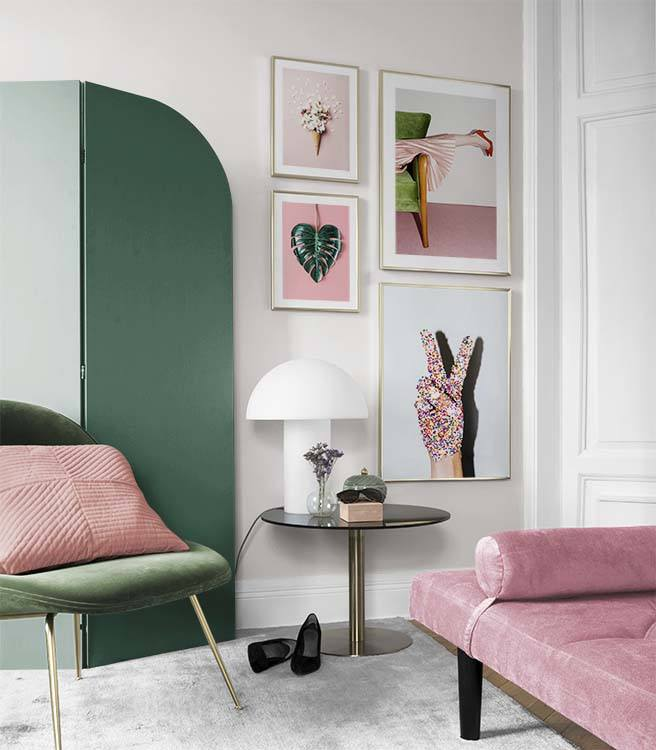 Colourful and playful gallery wall