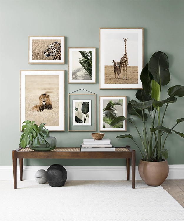Green living room with plants