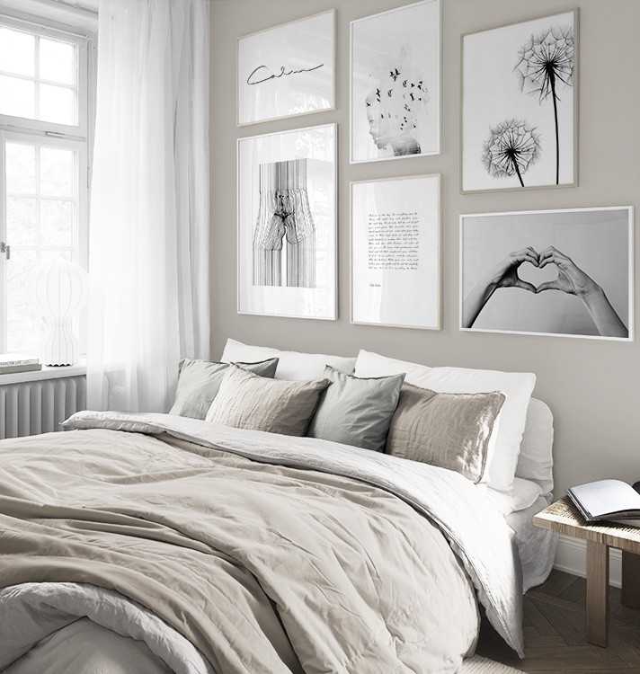 Black-and-white gallery wall