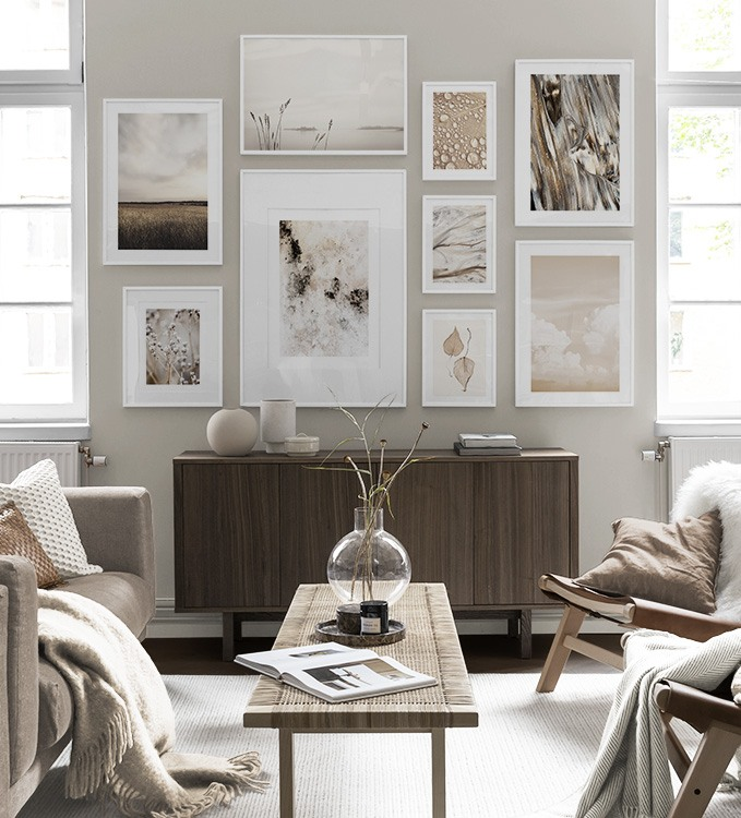 Nature designs and photo art in beige living room