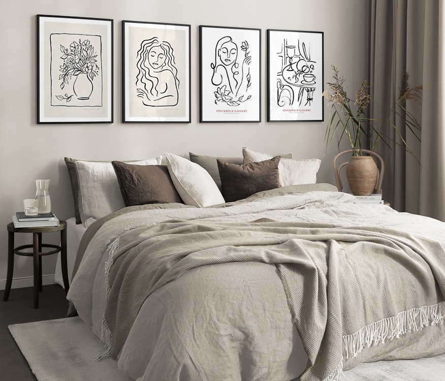 Painted Illustrations in black-and-white and beige bedroom