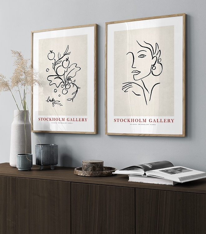 Painted illustrations in beige and black