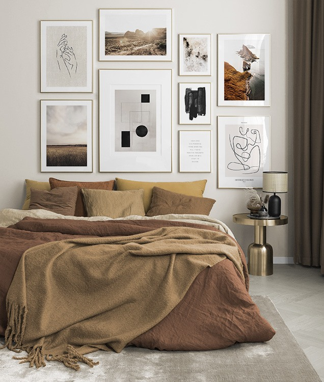 Photo art and illustrations in brown bedroom