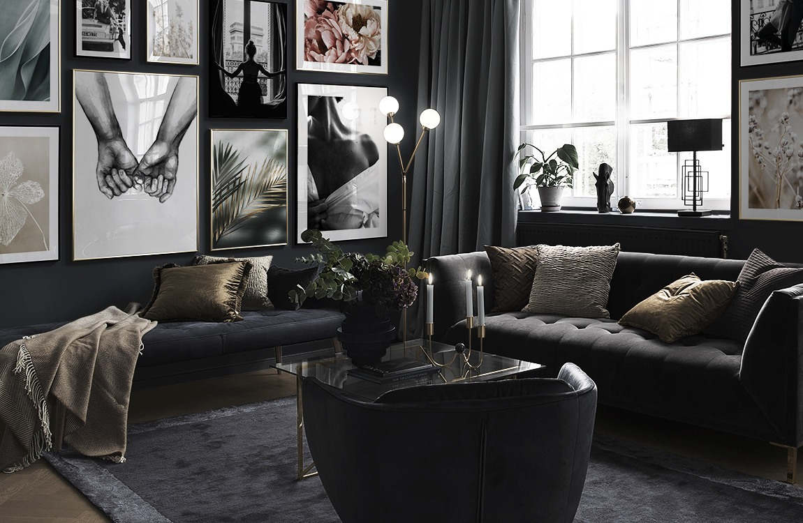 Photo art and botanical in living room