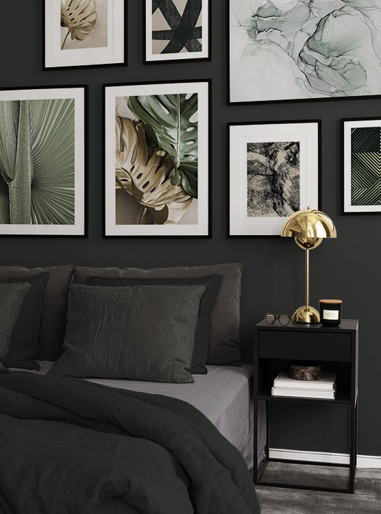 Green and golden botanical designs in bedrooms