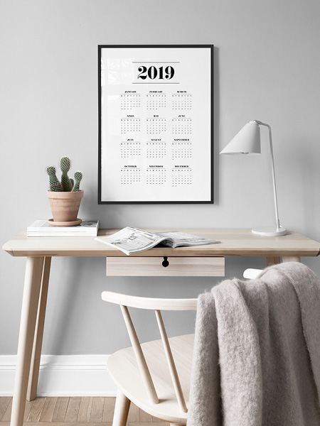 Stylish 2019 calendar poster from Desenio.